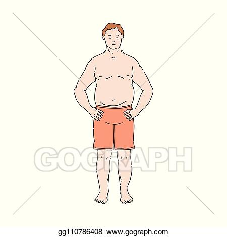 Topless clipart free library Vector Stock - Vector flat overweight obese unhappy man ... free library