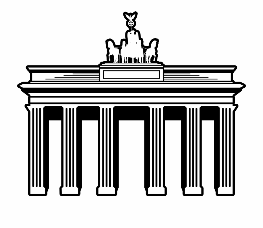 Tor logo clipart clip black and white library Famous Buildings Germany Landmark - Brandenburger Tor Berlin ... clip black and white library