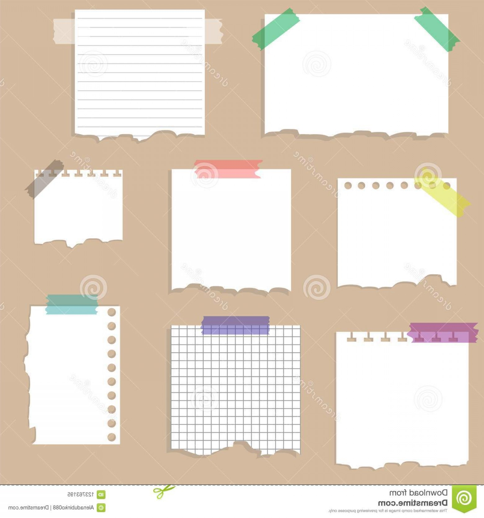 Torn paper clipart wth tape on edges image freeuse Paper Torn Page Notes Papers Different Size Glued To Wall ... image freeuse