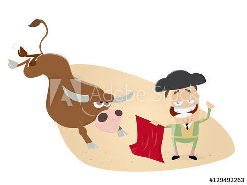 Torrero clipart banner royalty free download funny clipart of matador and bull - Buy this stock vector ... banner royalty free download
