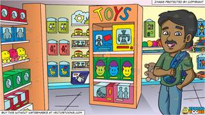 Tostore clipart image freeuse library An Indian Man With Mustache and Inside A Toy Store Background image freeuse library