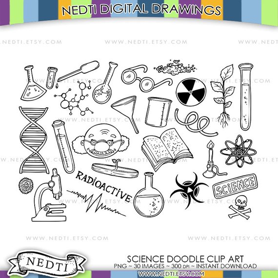 Total clipart project jpg black and white library Mad Scientist Doodle Clip Art, Science Project Hand Drawn ... jpg black and white library