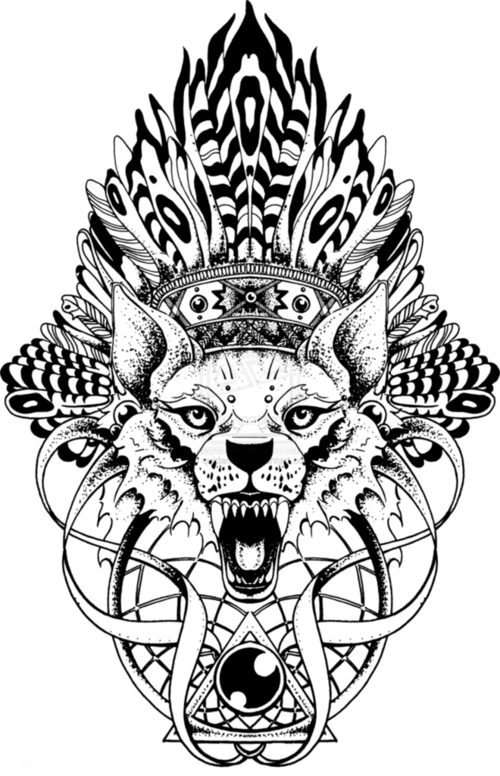 Totem pole clipart black and white lion clipart black and white Different wolf and bottom to it   Paint My Body   Angry wolf ... clipart black and white