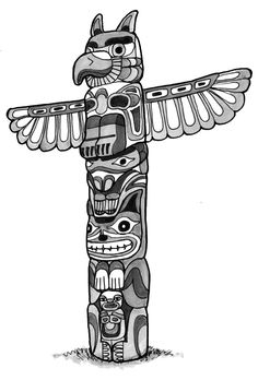Totem pole clipart black and white lion picture freeuse Totem Pole Sketch at PaintingValley.com   Explore collection ... picture freeuse