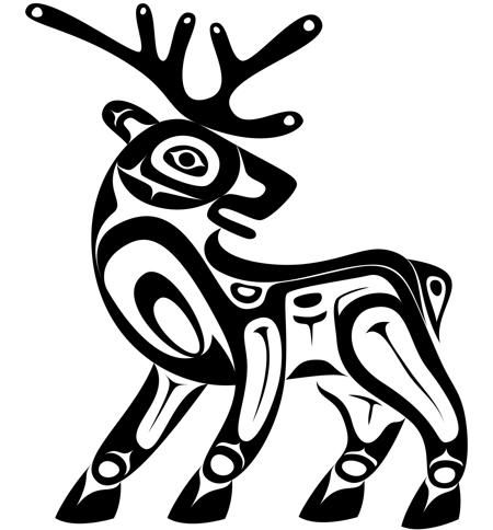 Totem pole clipart black and white moose