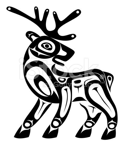 Totem pole clipart black and white moose clip art black and white Native Art Style Deer | Haida Art | Native american symbols ... clip art black and white