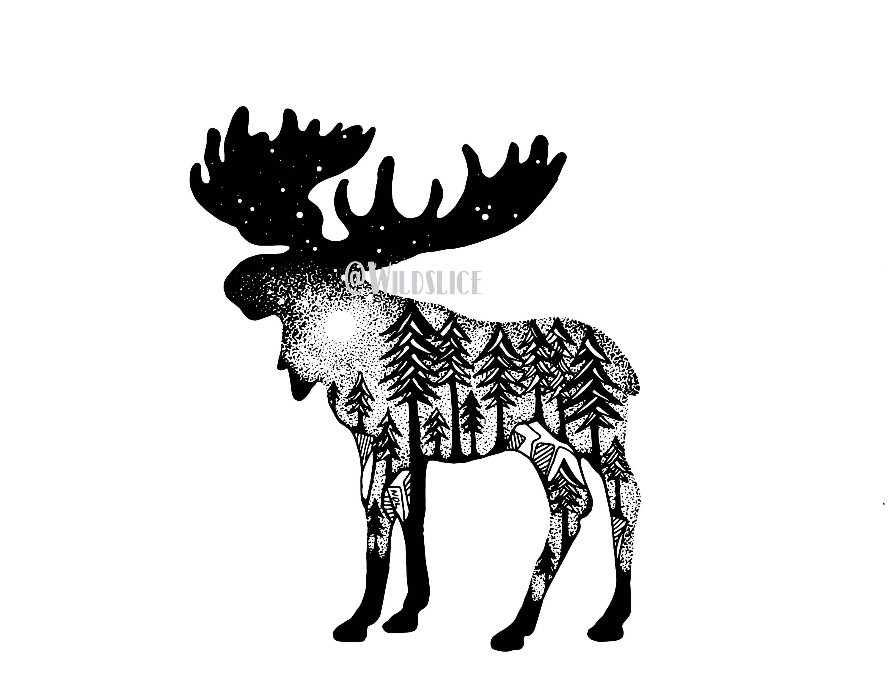 Totem pole clipart black and white moose clip art free download No pine trees, rather mountains | Tattoo | Moose tattoo ... clip art free download
