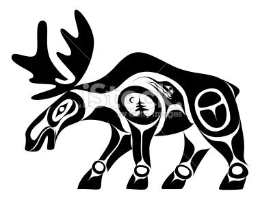 Totem pole clipart black and white moose jpg royalty free stock Native Art Style Moose | Stuff I love! in 2019 | Aboriginal ... jpg royalty free stock