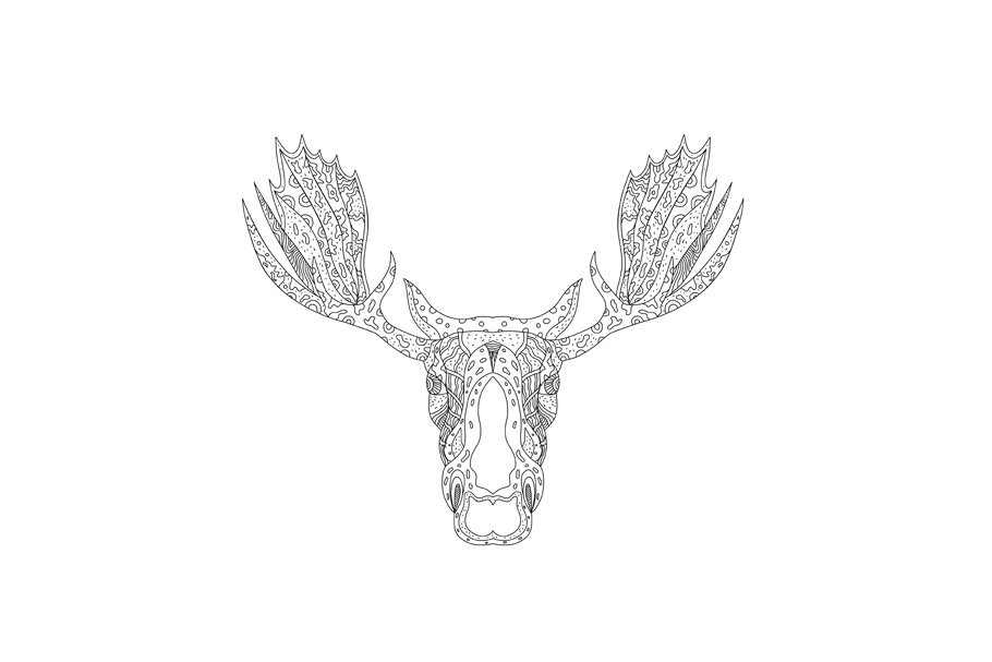 Totem pole clipart black and white moose image library download Bull Moose Head Doodle image library download