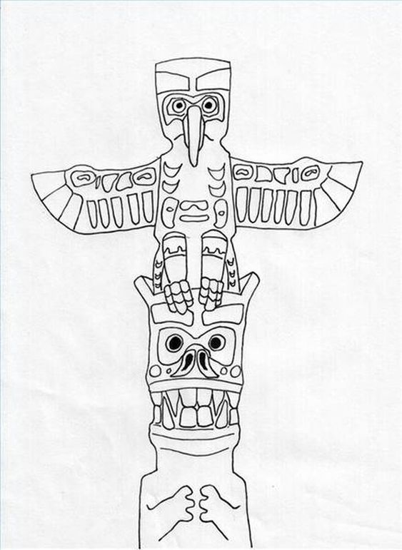 Totem pole clipart black and white moose banner How to Draw Animals on Totem Poles | art | Animal drawings ... banner