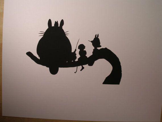 Totoro clipart silhouette clip transparent stock My Neighbor Totoro Hand cut paper art black silhouette paper ... clip transparent stock
