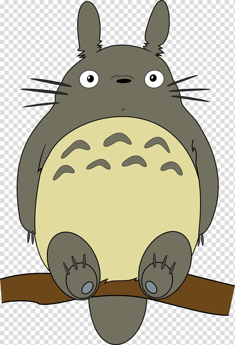 Totoro clipart silhouette vector transparent library Gray and beige animal illustration, Ghibli Museum Catbus ... vector transparent library