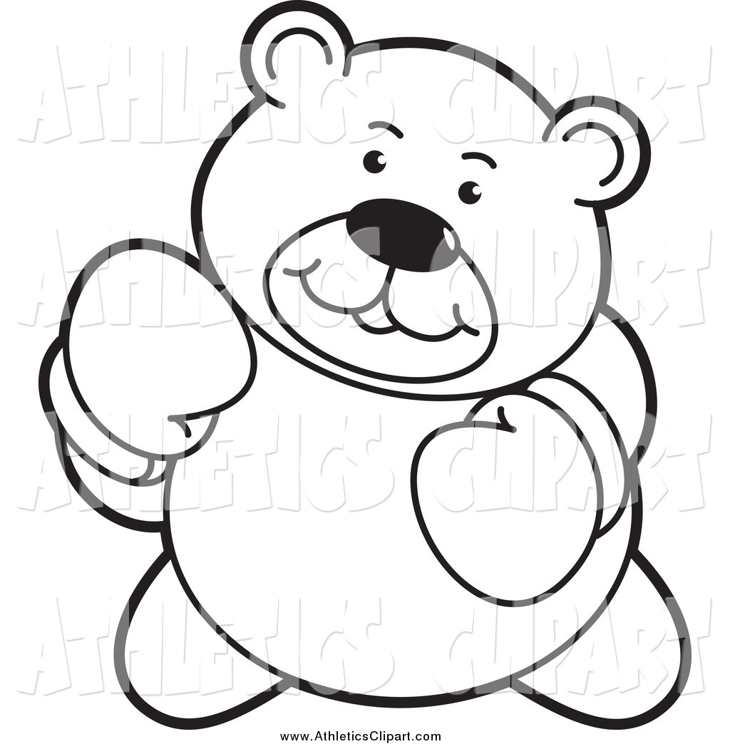 Tough clipart black and white free stock Clip Art of a Black and White Tough Boxing Teddy Bear by Lal ... free stock