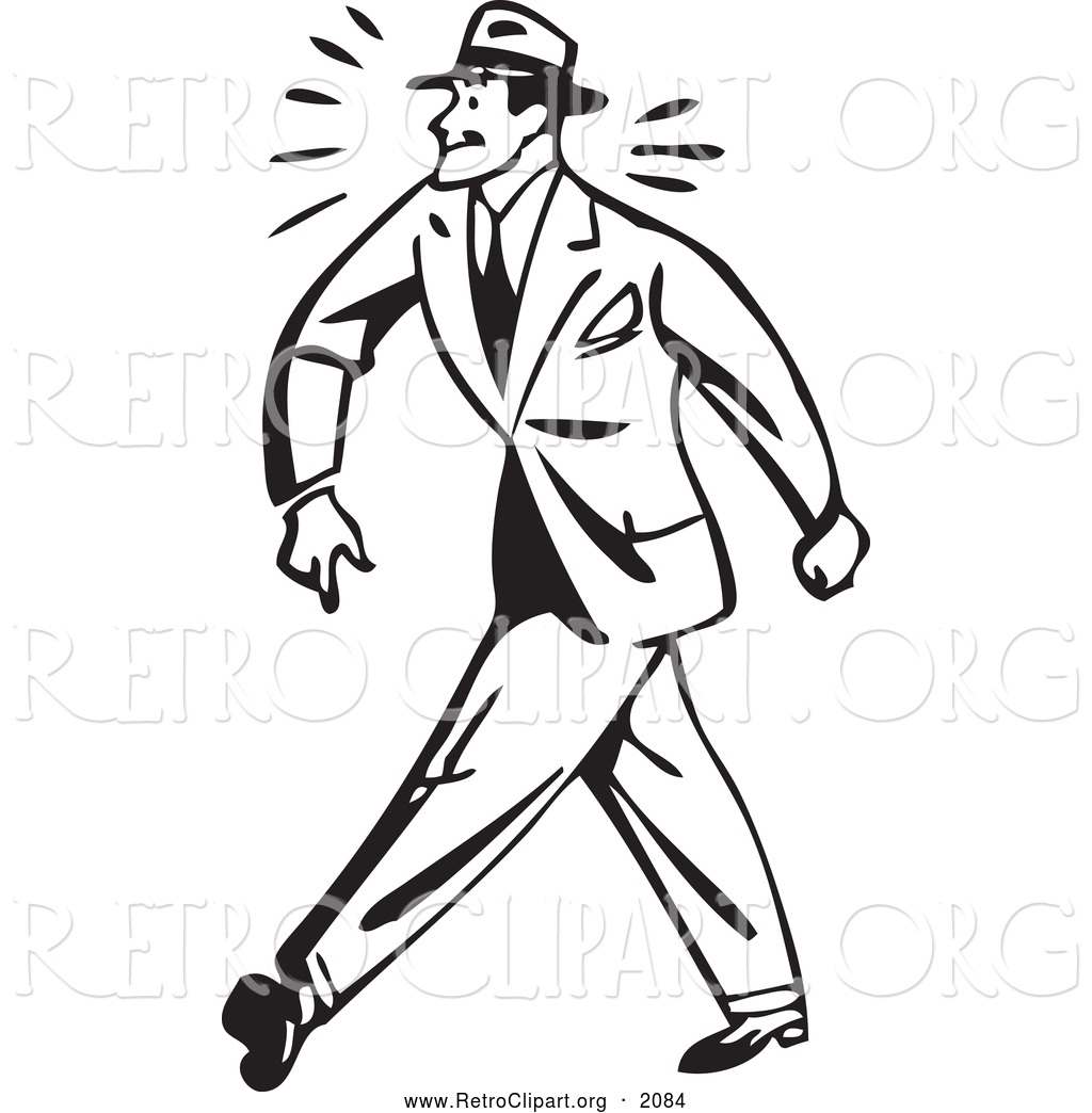 Tough clipart black and white clip Clipart of a Black and White Retro Tough Businessman Walking ... clip
