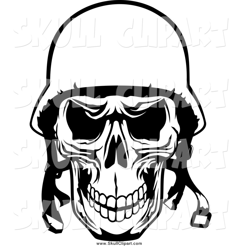 Skull face with guns clipart jpg library stock Vector Clip Art of a Black and White Tough Pilot Skull with ... jpg library stock