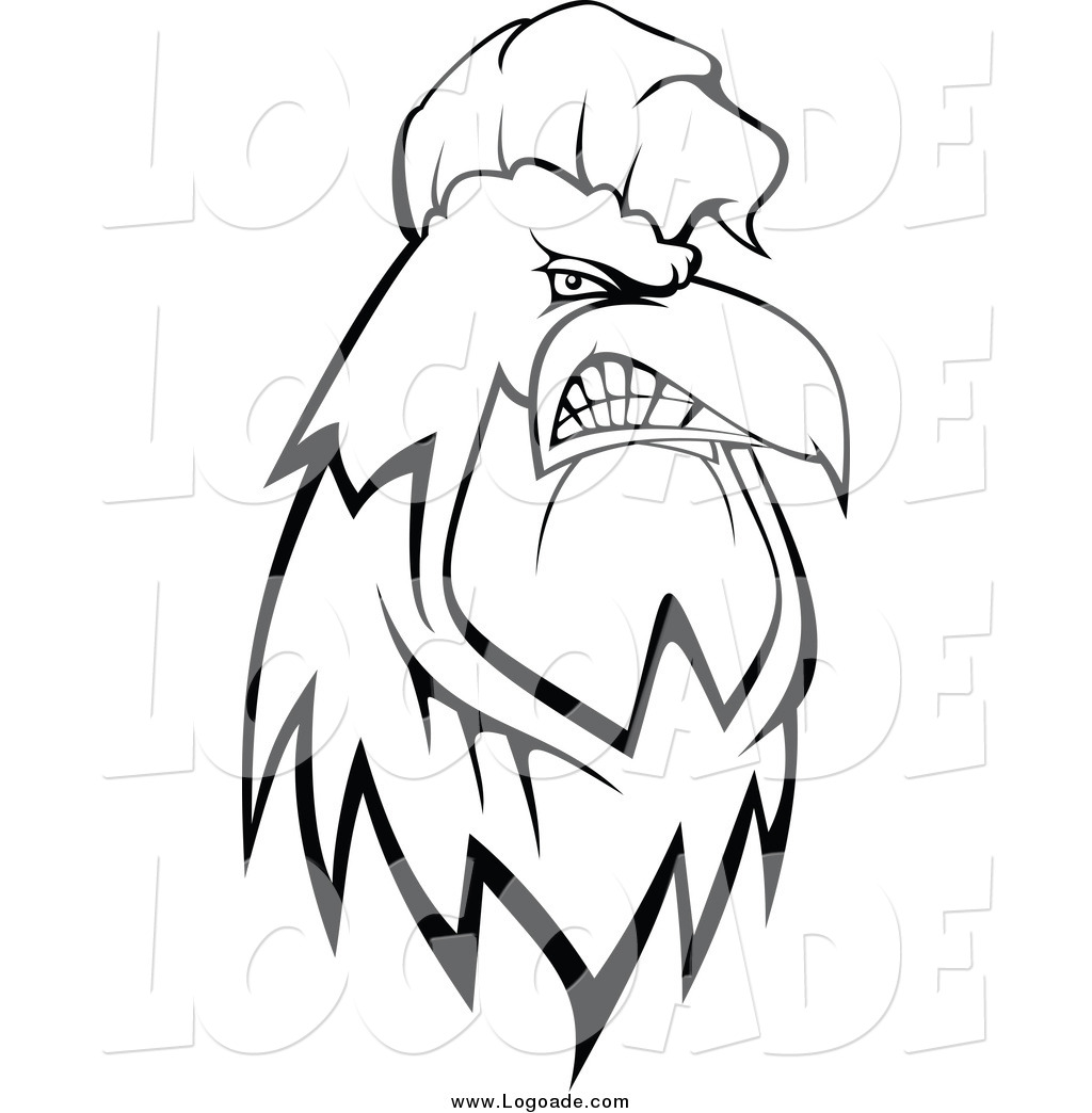 Tough clipart black and white png transparent library Clipart of a Black and White Tough Rooster Logo by Vector ... png transparent library