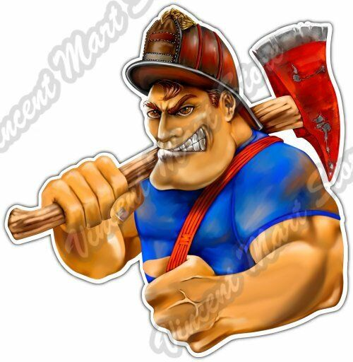 Tough guy rat clipart freeuse Firefighter Cartoon Tough Guy Fire Flame Car Bumper Vinyl Sticker Decal 4.6\