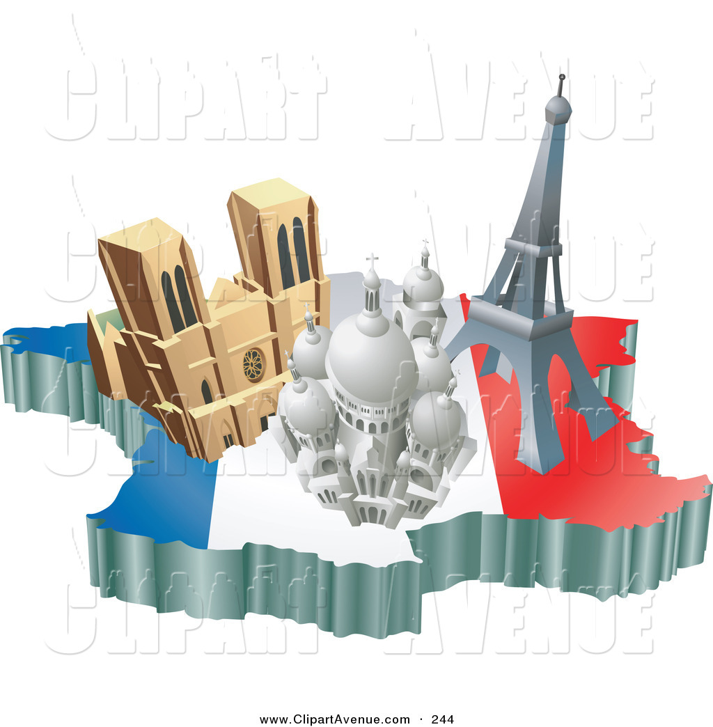 Tourist attraction clipart clipart royalty free library Avenue Clipart of a Trio of French Tourist Attractions; the ... clipart royalty free library