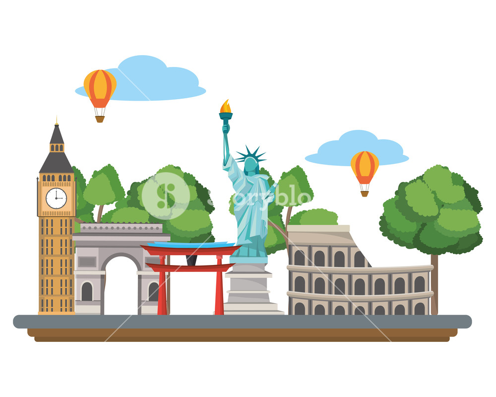 Tourist attraction clipart svg freeuse download world landmarks and tourist attraction destinations isolated ... svg freeuse download