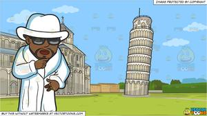 Tower of pimps clipart clipart freeuse library A Pimp In All White and The Leaning Tower Of Pisa Background clipart freeuse library