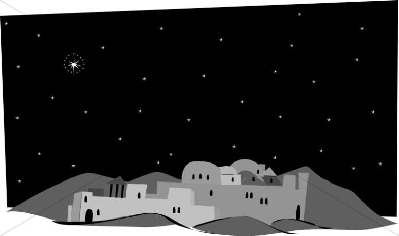 Bethlehem at night black and white clipart picture free stock Grayscale Town of Bethlehem | Nativity Clipart picture free stock