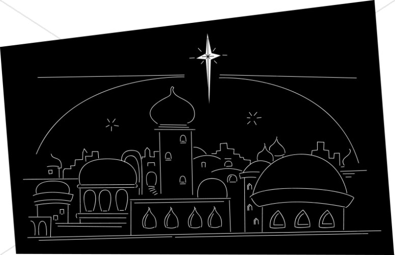 Bethlehem at night black and white clipart clip free download Star Ove rthe Town of Bethlehem Line Art | Nativity Clipart clip free download