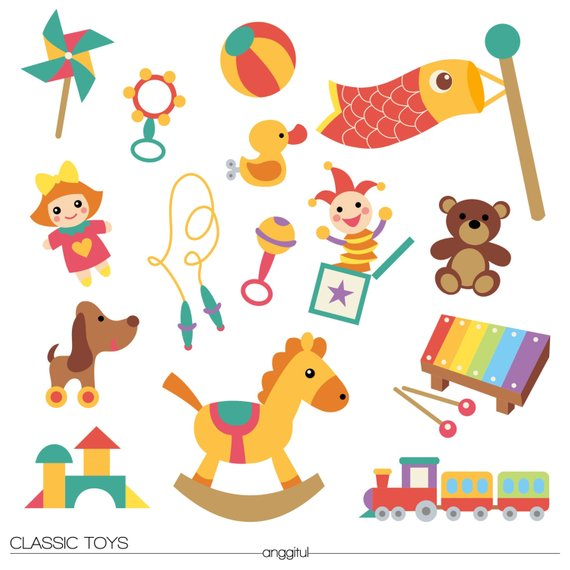 Toy clipart vector svg royalty free CLASSIC KIDS TOYS Baby Children Clipart Vector Icon Instant ... svg royalty free