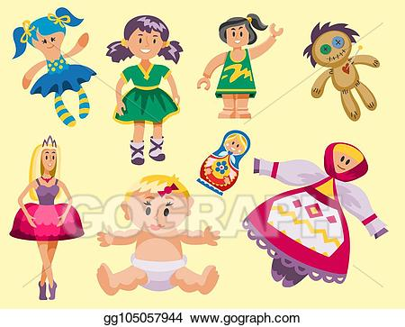 Toy dolls clipart picture royalty free stock Vector Clipart - Different dolls toy character game dress ... picture royalty free stock