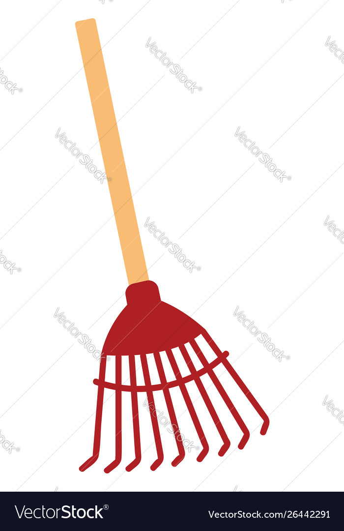 Toy rake clipart white background vector royalty free library Red rake on white background vector royalty free library
