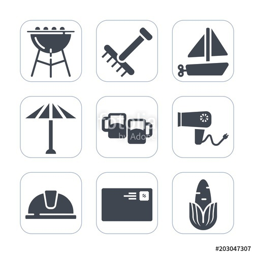 Toy rake clipart white background transparent Premium fill icons set on white background . Such as hat ... transparent