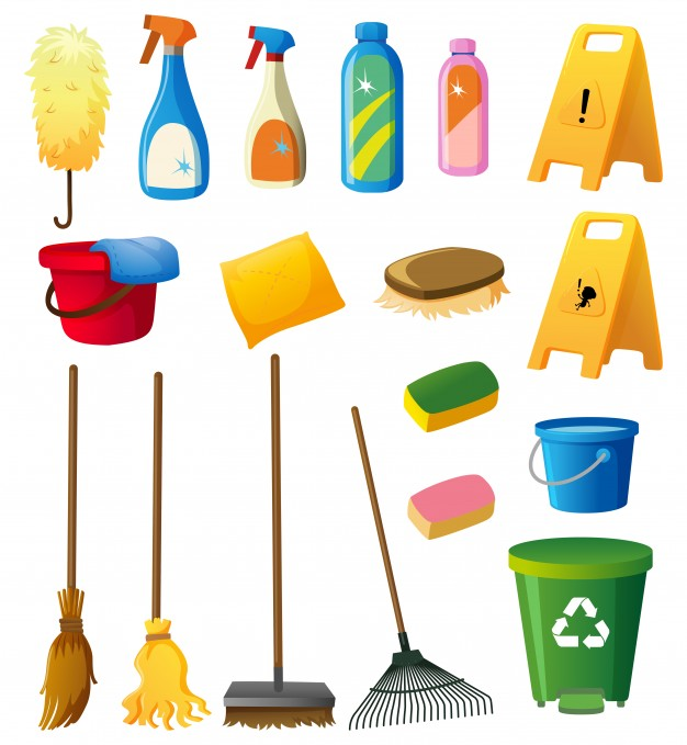 Toy rake clipart white background png freeuse Cleaning equipments on white background Vector   Free Download png freeuse