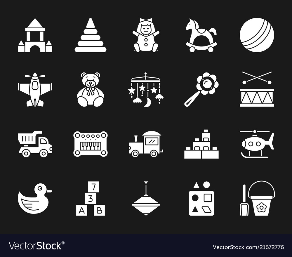 Toy silhouette clipart library Baby toy white silhouette icons set library