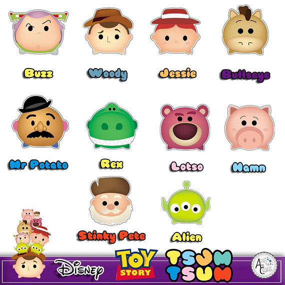 Toy story jesse faces clipart png library library Disney toy story tsum tsum 23 Digital paper 300DPI + 10 ... png library library