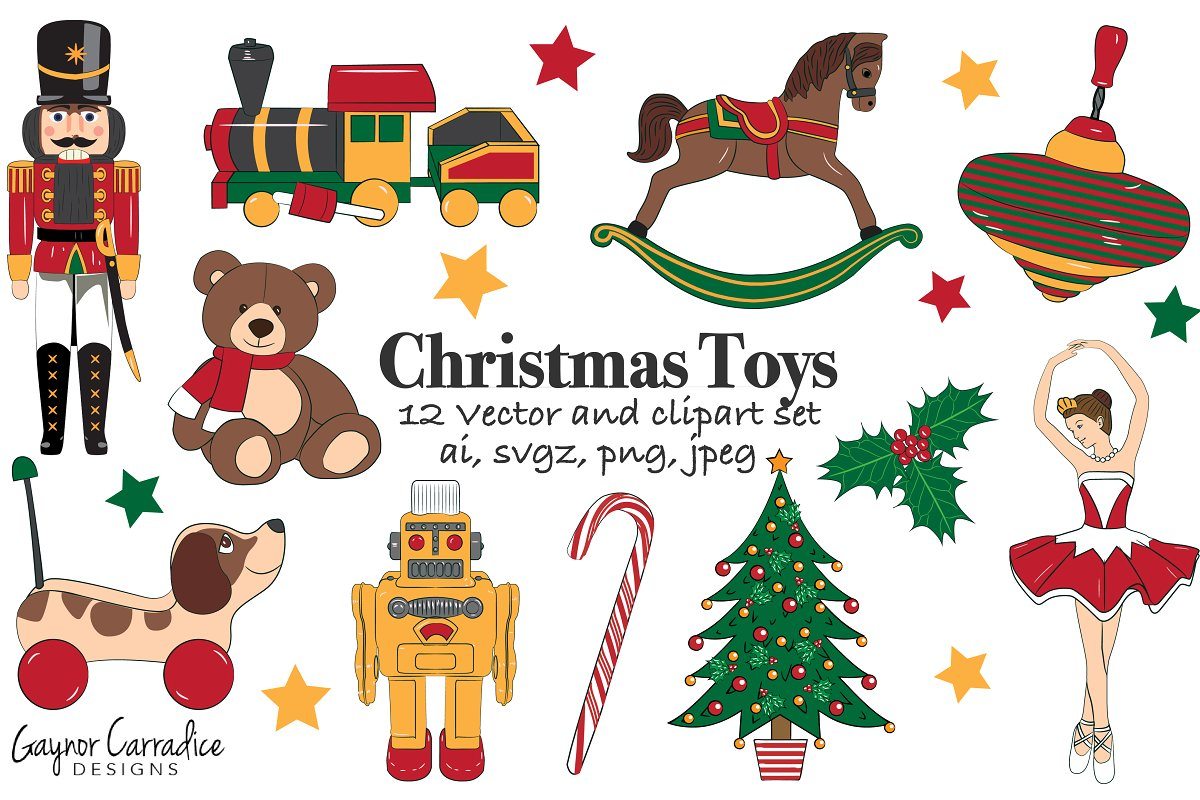 Toy vector clipart png freeuse download Christmas toys vector set & clipart png freeuse download