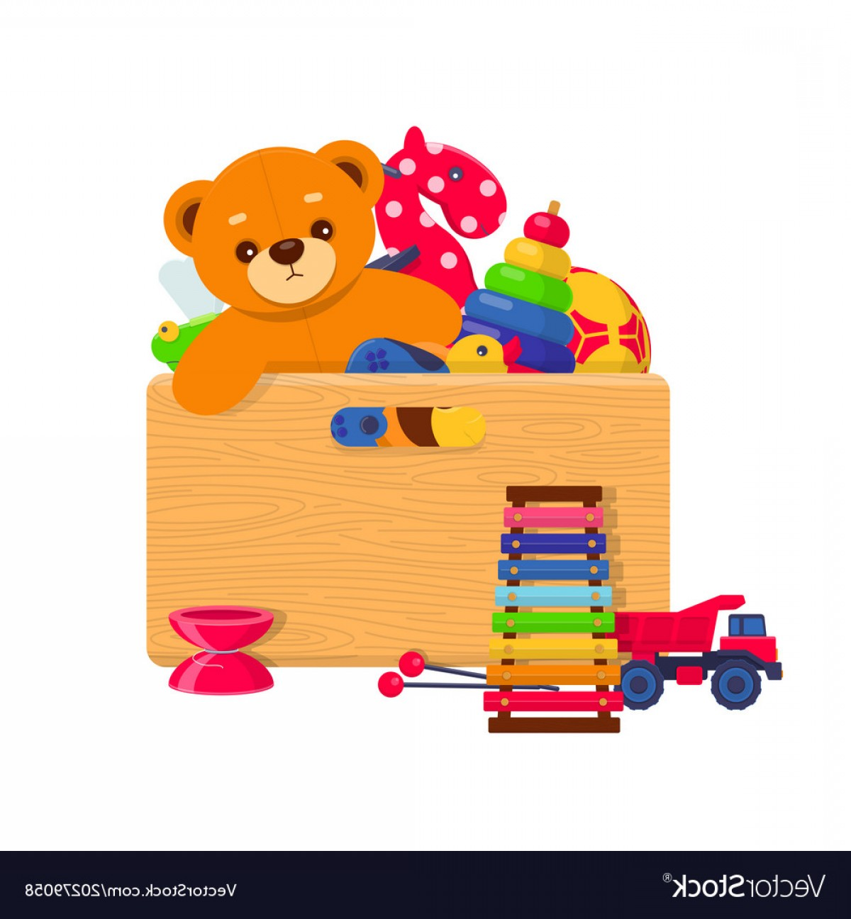 Toys beginning with a clipart svg freeuse download Wooden Box Full Of Kids Toys Vector | CQRecords svg freeuse download