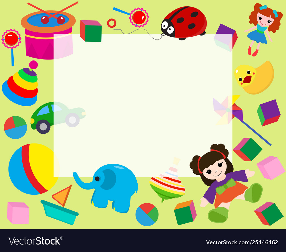 Toys border clipart svg free Horizontal frame border with colorful toys in Vector Image svg free