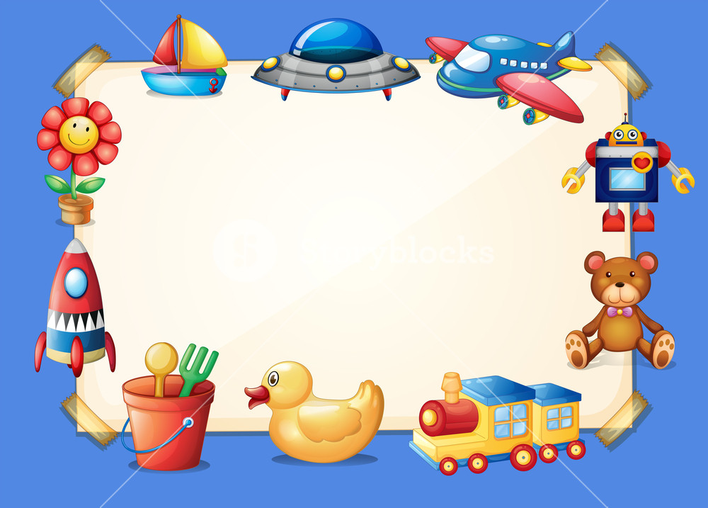 Toys border clipart jpg stock Border template with different toys in background Royalty ... jpg stock