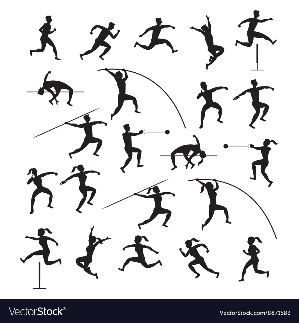 Track and field silhouette clipart banner royalty free Sports Athletes Track and Field Silhouette Set banner royalty free
