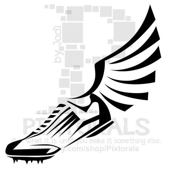 Winged track shoe clipart graphic black and white library Track Winged Shoe Clipart! EPS file, svg, and jpeg, png ... graphic black and white library
