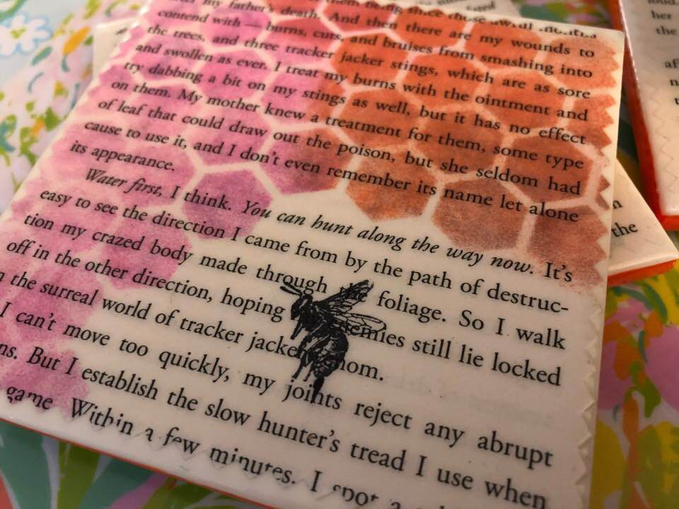 Tracker jacker clipart picture transparent stock Tracker Jackers | Hunger Games Upcycled Book Page Coasters picture transparent stock