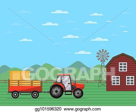 Tractor pulling hay clipart image black and white stock Vector Stock - Tractor pulling trailer with hay banner ... image black and white stock