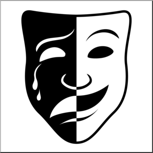Tradgey and comedy mask black and white clipart vector free stock Clip Art: Comedy and Tragedy Masks 2 B&W 2 I abcteach.com ... vector free stock
