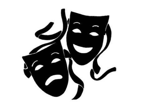Tradgey and comedy mask black and white clipart banner free library Le Maschere (Comedy and Tragedy, Theater) - Florence Inferno banner free library