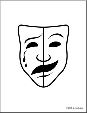 Tradgey and comedy mask black and white clipart banner black and white library Clip Art: Comedy and Tragedy Masks 2 (coloring page) I ... banner black and white library