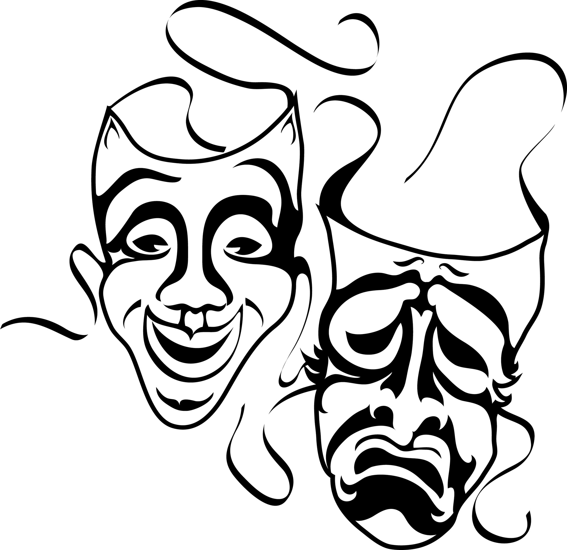 Tradgey and comedy mask black and white clipart clipart free library Theatre Faces Clipart   Free download best Theatre Faces ... clipart free library