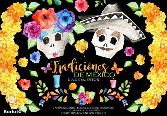 Tradiciones clipart picture royalty free library Dia de Muertos,Watercolor Mexican Floral,Tradiciones ... picture royalty free library