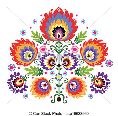 Traditional art clipart clip art transparent Clip Art Vector of Folk Embroidery Flowers - polish folk ... clip art transparent