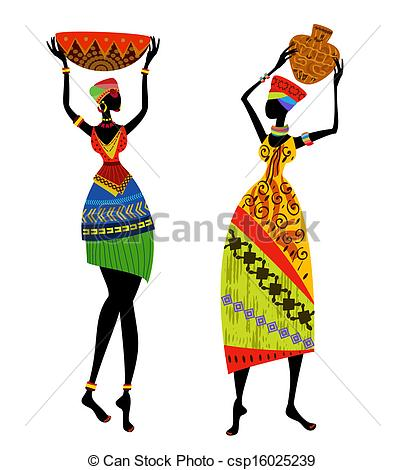 Traditional art clipart graphic black and white Vectors of Beautiful African woman in traditional costume ... graphic black and white