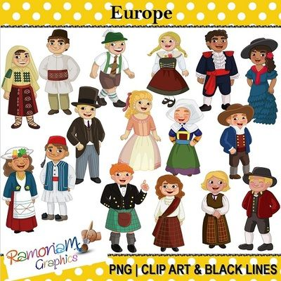 Traditional art clipart vector black and white library Children of the World: Europe - Traditional, Historical World ... vector black and white library