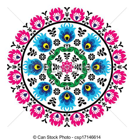 Traditional art clipart image free Vector Clip Art of Polish traditional folk pattern - Decorative ... image free